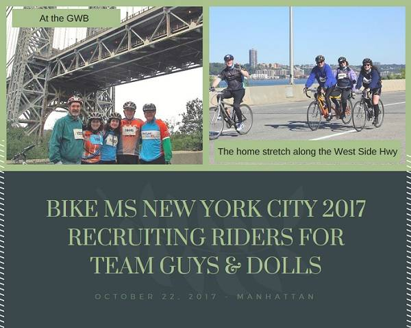 Team Guys and Dolls is looking to recruit riders to join them when they participate in the Bike MS New York City 2017 this October in Manhattan.