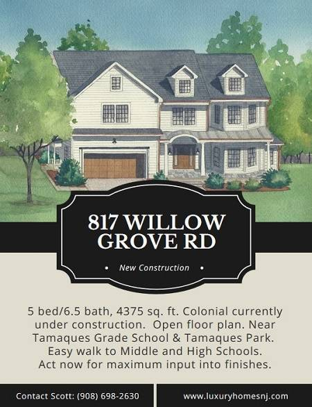 Act now to maximize your input into the finishes of the home currently under construction at 817 Willow Grove Rd in Westfield, NJ.