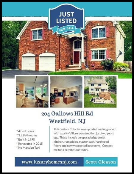 The custom Colonial at 204 Gallows Hill Rd, Westfield, NJ was remodeled in 2015 with many updates and upgrades to the kitchen, master bathroom & more.