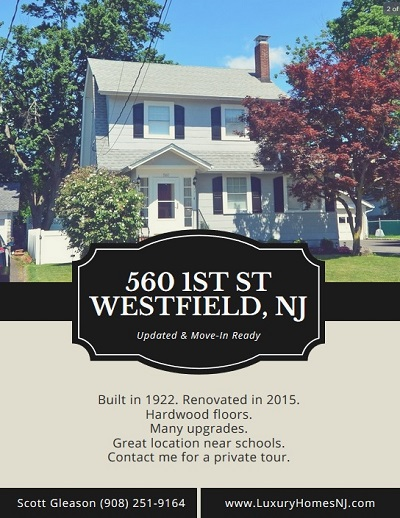 The 1922 Colonial located at 560 W 1st St in Westfield, NJ was renovated in 2015 with lots of upgrades. Beautiful curb appeal. Easy walk to area schools.
