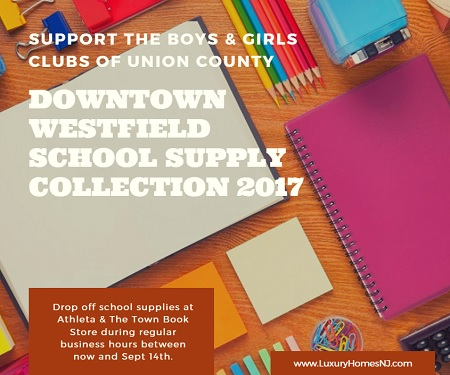 Support the Boys & Girls Clubs of Union County by dropping off much needed supplies at the Downtown Westfield School Supply Collection 2017 thru Sept 14th.