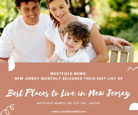 "In the latest Westfield news, we made New Jersey Monthly magazine's ""Best Places to Live in New Jersey"" list yet again. Up to #34 from #62 two years ago."