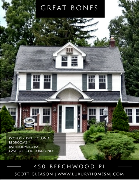 Remake the 1929 Colonial located at 450 Beechwood Pl in Westfield, NJ into your exact dream home. Partial demolition already done. Add your personal touch.