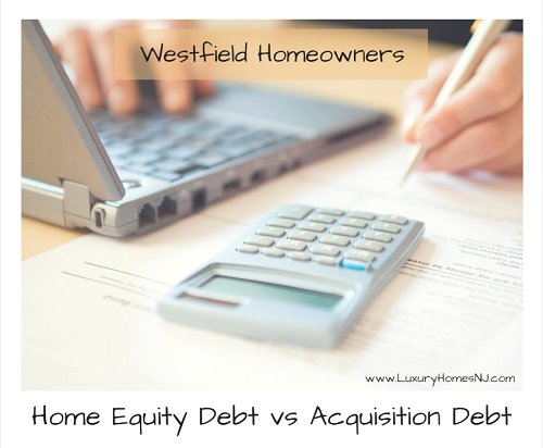 For Westfield homeowners, when it comes to mortgage interest deduction, home equity loans are not all created equal. You need to know the difference between home equity debt and acquisition debt. Interest on one is deductible while the other is not.
