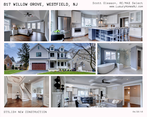 Beauty, style, and smart technology merge together in the beautiful, newly constructed colonial at 817 Willow Grove Rd in Westfield, NJ.