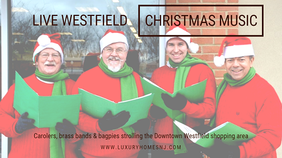 Enjoy live Westfield Christmas music performances with carolers, a brass quintet and even a bagpipe band strolling around the downtown shopping area in December 2018.