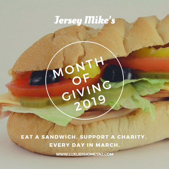 "Throughout the month of March, all Jersey Mike's locations gather donations for local charities during their ""Month of Giving"" campaign. On March 27th, all money made in sales for the day will go directly to these charities as well."