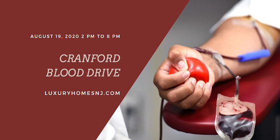 Help fill up New Jersey Blood Services reserves by signing up to donate at the Cranford Blood Drive on Wednesday, August 19th, 2020.